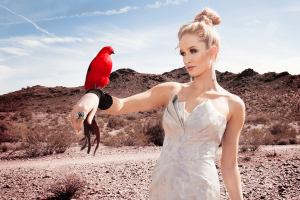 Women in nice dress in the dessert with red bird on her arm.